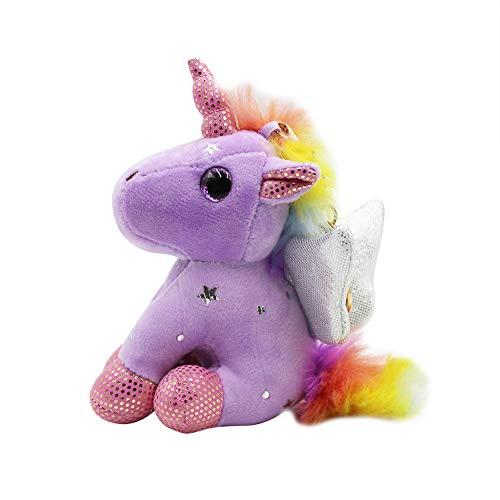 Cute Unicorn Plush Stuffed Keychain Animal Backpack Clip Handbag Keyring for Girls Women Kids Gift (Wing Purple) ()