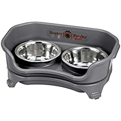 Neater Feeder Express (Small Dog, Gunmetal) - with Stainless Steel Dog Bowls and Mess Proof Pet Feeder
