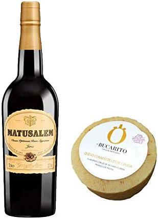 Pack de Vino Oloroso Dulce Matusalem y Queso Curado de Leche Cruda Sin Lactosa - Vino de 75 cl y Queso de 900 g aprox - Mezclanza