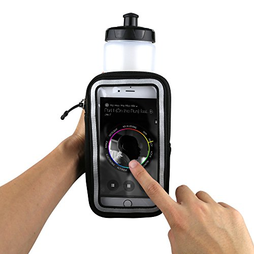 Gear Beast Handheld Running Water Bottle [23 oz] With Clear Touchscreen Cell Phone Accessory Pouch Zippered Pocket and Card Holder Fits All Smartphones, Hydration Pack For Running Hiking Travel & More by Gear Beast (Image #2)