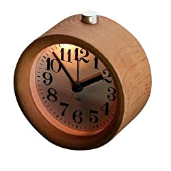 Classic Small Round Silent Table Snooze Beech Wood Alarm Clock Night Light Fine