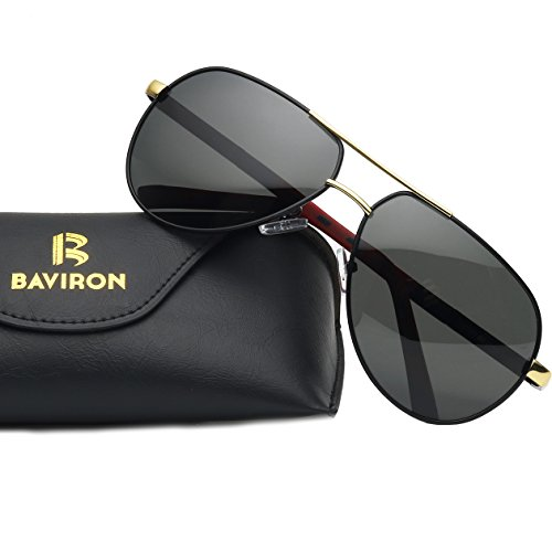BAVIRON Men's Military Aviator Sunglasses Polarized Double Bridge Metal Flat Glasses(Black - Really Dark Sunglasses