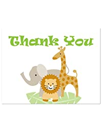 50 Cnt Safari Animals Baby Shower Thank You Cards BOBEBE Online Baby Store From New York to Miami and Los Angeles