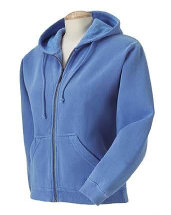 Comfort Colors Ladies Garment Dyed Full Zip Hooded Fleece Sweatshirt - Flo Blue, Ladies 2XL