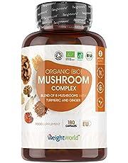 Ekologisk svampbaserad komplex - 8 svampar (inklusive Igelkottstaggsvamp, Lackticka, Sprängticka) + gurkmeja & ingefära, Vegan kosttillskott - Tillverkad i EU
