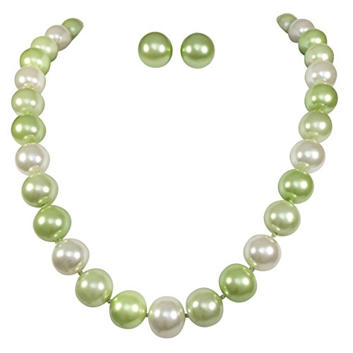 14mm Single Strand Glass Beaded Simulated Pearl Necklace Stud Earrings Set (Green & Ivory) (Disney Pearl Earrings)
