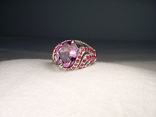 Gorgeous Estate 14K White Gold Amethyst Ruby Pave Diamond Ring (Gold Ruby Pave Diamond)