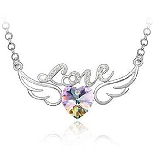 New Womens Heart Purple AB Crystal Rhinestone Silver Chain Pendant Necklace ~пјЃ ()