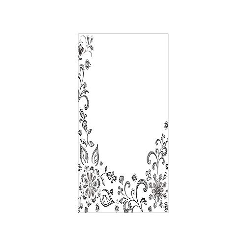 - Ylljy00 Decorative Privacy Window Film/Monochrome Floral Framework Herbs Swirled Leaves Botanical Sketchy Bouquet/No-Glue Self Static Cling for Home Bedroom Bathroom Kitchen Office Decor Black White
