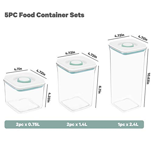 Cereal Container Storage Set, Hwonmte 5 PC Set Airtight Food Storage Containers, Kitchen & Pantry Organization, Plastic Canisters for Flour, Sugar with New Design Lids, BPA-Free Dispenser Keepers