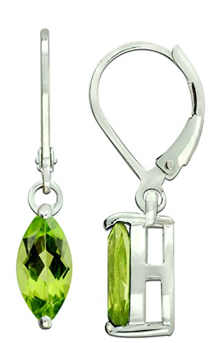 RB Gems Sterling Silver 925 Earrings GENUINE GEMS LONDON BLUE TOPAZ, PERIDOT 2 Cts, RHODIUM-PLATED