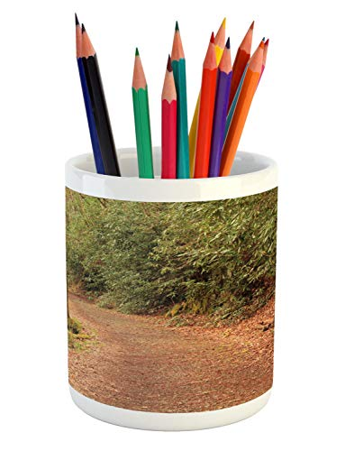 (Lunarable South Carolina Pencil Pen Holder, River Trail Trekking Smokey Mountains National Park, Printed Ceramic Pencil Pen Holder for Desk Office Accessory, Fawn Cocoa and Pale Caramel)