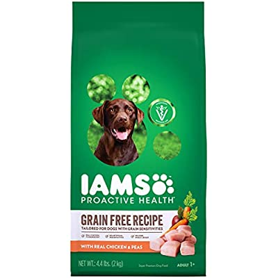Iams Proactive Health Sensitive Skin & Stomach Grain Free Dog Food – with Real Chicken and Peas, 10.3 Pound Bag
