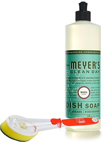 Mrs. Meyer's Dish Soap Basil 16 fl oz with a Brillo Scrub Brush