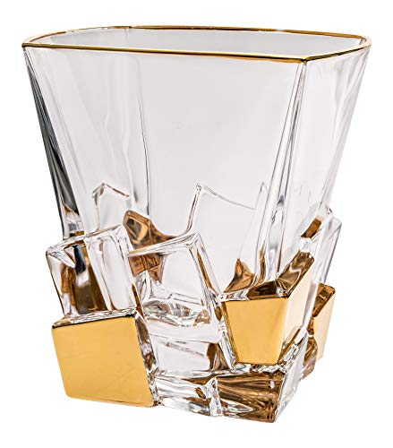 - Barski - European Quality Glass - Crystal - Set of 6 - Square Shaped - Double Old Fashioned Tumblers - DOF - 11.7 oz. - with Gold Ice Cubes Design - Glasses are Made in Europe