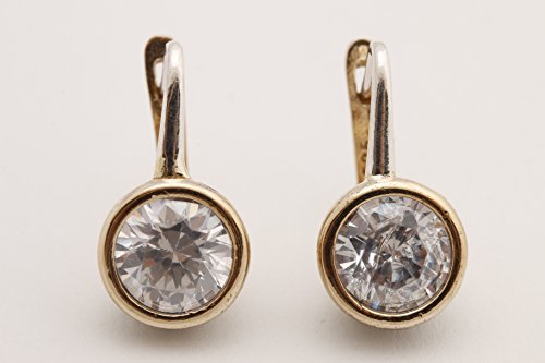 Fashion Style Turkish Handmade Jewelry Round Shape Topaz 925 Sterling Silver Stud Earrings