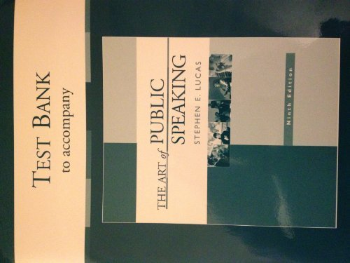Test Bank Printed to Accompany the Art Of Public Speaking