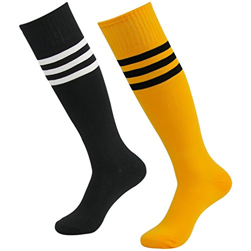 Fasoar Unisex High Striped Stretch Rugby Football Sports Socks Boot Socks Pack of 2 Black Orange