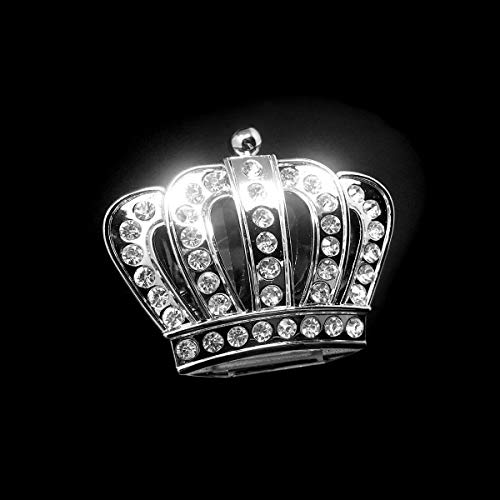 Bling Crown Car Emblem, Bling Car Accessories, Rhinestone Silver Chrome Metal Car Decal Sticker, Car Bling Exterior & Interior Car Accessory, Crystal Crown Emblem, Bling Car Decor (Crown-Small)
