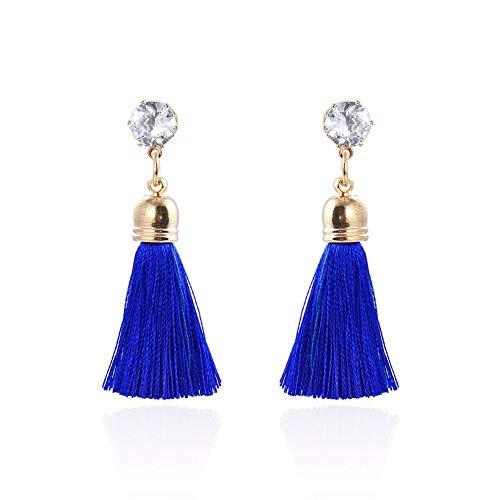 - Women's Dangle Drop Short Tassel Earrings with Shell Pearl Black Rhinestone Top (683)