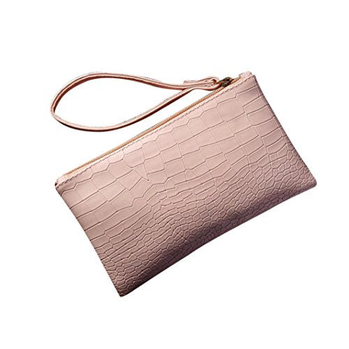 Women Girl Mini Leather Clutch Handbag Small Crossbody Purse Cellphone Bag Satchel Pouch (Pink) (Weekender Multi Pouch)