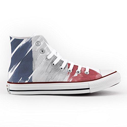 Converse All Star Personnalisé et Imprimés - chaussures à la main - produit Italien - France Flag
