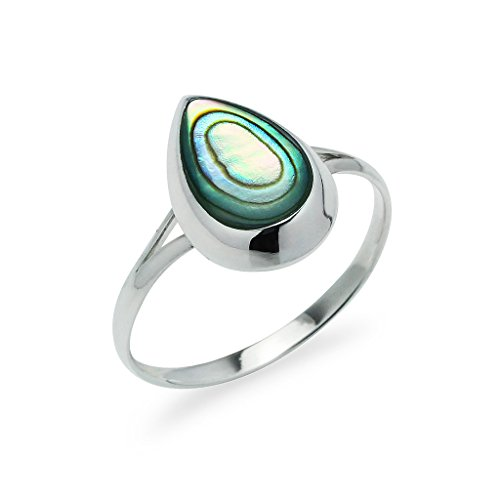 Sterling Silver Teardrop Shape Ring Simulated Abalone Shell Size 8 ()