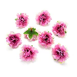 Flower heads in bulk wholesale for Crafts Silk Artificial Carnation Cherry Blossoms Flower Head Wedding Home Decoration DIY Corsage Wreath Fake Flowers Party Birthday Decor 30pcs 5cm (Colorful) 5