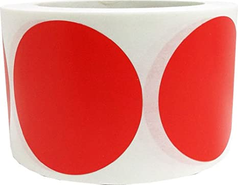 3 inch round red color coding dot labels 500 colored circle inventory stickers per