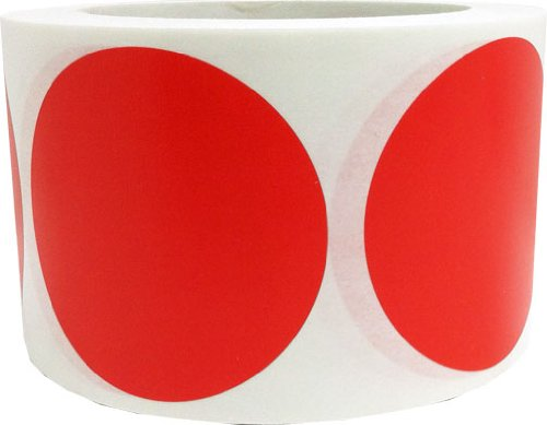 "3"" Inch Round Red Color Coding Dot Labels - 500 Colored Circle Inventory Stickers Per Roll"