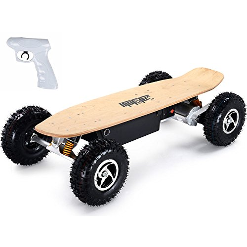 MotoTec 1600W Dirt Electric Skateboard Dual Motor , Black , Large