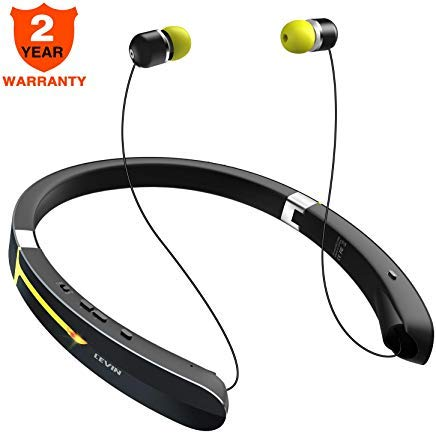 - Bluetooth Headphone Wireless Neckband Headset - Lightweight Sweatproof Sport Earphones w/Mic Call Vibrate Alert, Retractable Earbuds for Android Cellphone Tablets TV More