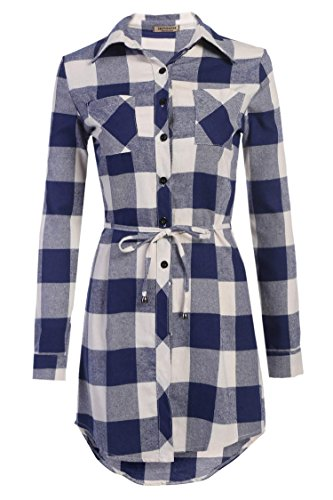 Cotton Plaid Belt - Misakia Women Casual Long Sleeve Button Down Plaid Shirt with Belt