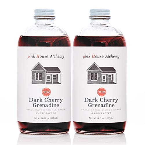 Pink House Alchemy Dark Cherry - Grenadine Simple Syrup 2 / 16 oz Cocktail Drink Mix - Use to Flavor Coffee - Hawaiian Shaved Ice - Dessert Topping - Fresh Cherries - Free Book See Package (DC 2P)