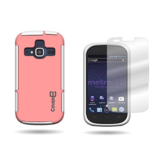 CoverON ZTE Concord II Hybrid TPU & Hard Plastic Dual Layer Case + Clear Screen Protector for ZTE Concord II Z730 - Light Pink / White