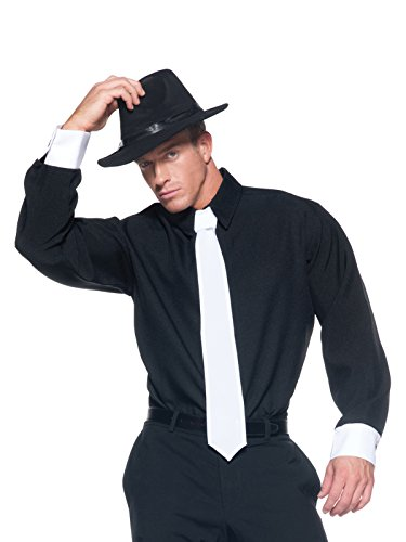 1920s Costumes Easy Mens (Black and White Long Sleeve Mens Button Up Gangster Costume Shirt Easy Costumes Sizes: One)