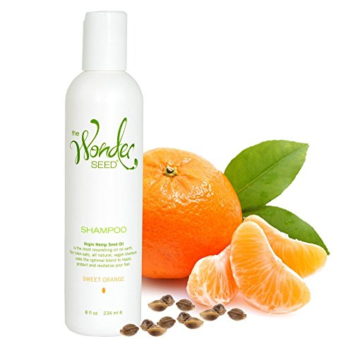 The Wonder Seed Hemp Shampoo - All Natural Organic Formula - Vegan Friendly Blend - Best Solution for Dry Itchy Scalp/ Dandruff/ Oily Hair & More - Proudly Cruelty Free (Sweet Orange) 8oz