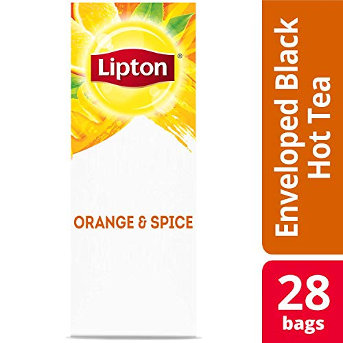 Lipton Black with Orange and Spice Enveloped Hot Tea Bags Made with Tea Leaves Sourced from Rainforest Alliance Certified Farms, 28 count, Pack of 6 ()