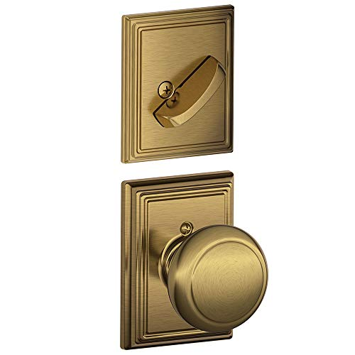 Schlage Lock Company F59AND609ADD Antique Brass Andover Interior Pack Knob Set with Single Cylinder Deadbolt and Decorative Addison Rose (Interior Half Only)
