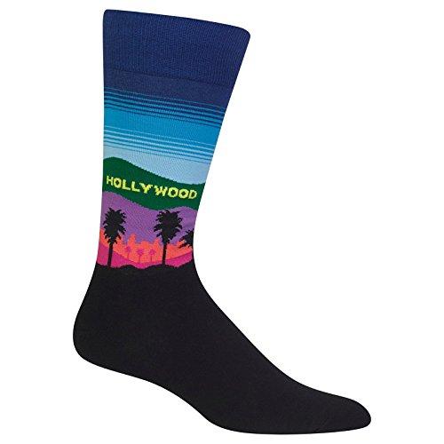 Hot Sox Men's Classic Fashion Crew Socks, Hollywood (Dark Blue), Shoe Size:6-12 / Sock Size: - Fashion Hot Hollywood