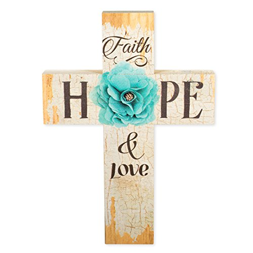 Wall Cross Turquoise (Faith Hope & Love Turquoise Flower Distressed 7 x 5 Wood Wall Art Cross Plaque)