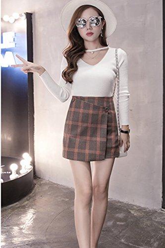 Autumn and winter the new A word skirt high waist skirt(Blue) - 5