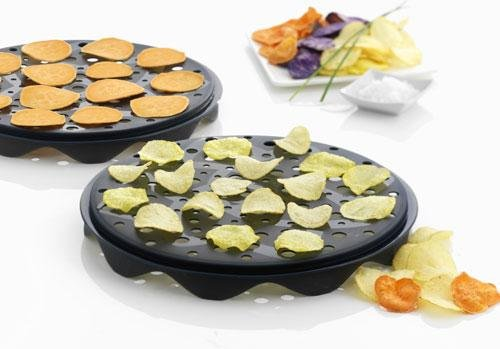 strad Set of 2 Interlocking Silicone Chip Trays - Crisp Vegetables Fruits Without Fats and Oils - Microwave and Dishwasher Safe ()