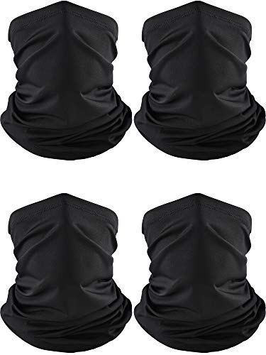 4 Pieces Summer Bandana Face Mask Thin Neck Gaiter Cooling Sunblock Face Scarf (Color Set 5)
