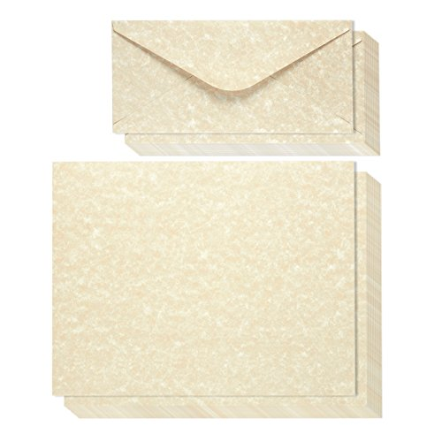 48-Count Writing Stationery Paper Letter Set with 48-Count Envelopes - Antique Parchment Paper, Old Fashioned Design, Vintage Scrapbook Paper - Printer Friendly, 8.5 x 11 Inches