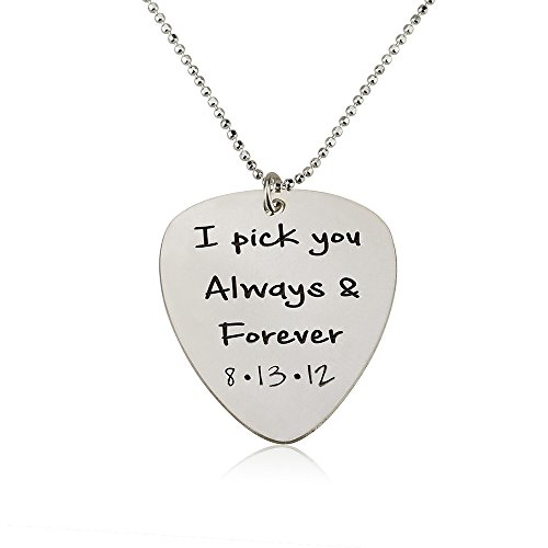 Guitar Pick Necklace - Personalized Pick Necklace- 925 Sterling Silver (22 Inches) (Pick Sterling Necklace Guitar Silver)