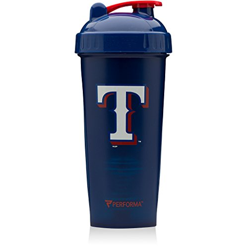 (PerfectShaker Performa - MLB Collection, Best Leak Free Bottle with Actionrod Mixing Technology for Your Sports & Fitness Needs! Dishwasher and Shatter Proof (Rangers))