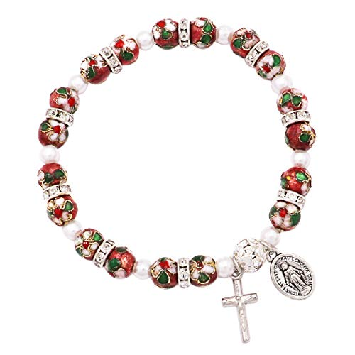 Rosemarie Collections Women's Cloisonne Beaded Stretch Rosary Bracelet with Crucifix and Miraculous Medal (Rose)