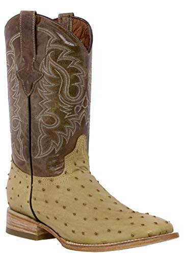 Texas Legacy - Men's Sand Ostrich Quill Design Leather Cowboy Boots Square Toe 9.5 D(M) ()