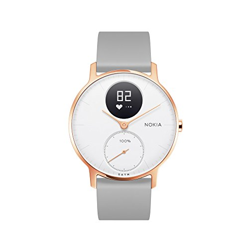 Nokia | Steel HR Hybrid Smartwatch - Activity Tracker, Heart Rate Monitor, Sleep Monitor, Water Resistant Smart Watch - Grey Silicone Band (Rose Gold/White, (Nokia Bluetooth)